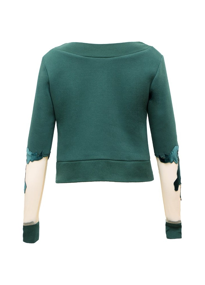 Pulover Crop Canvas Petroleum Green